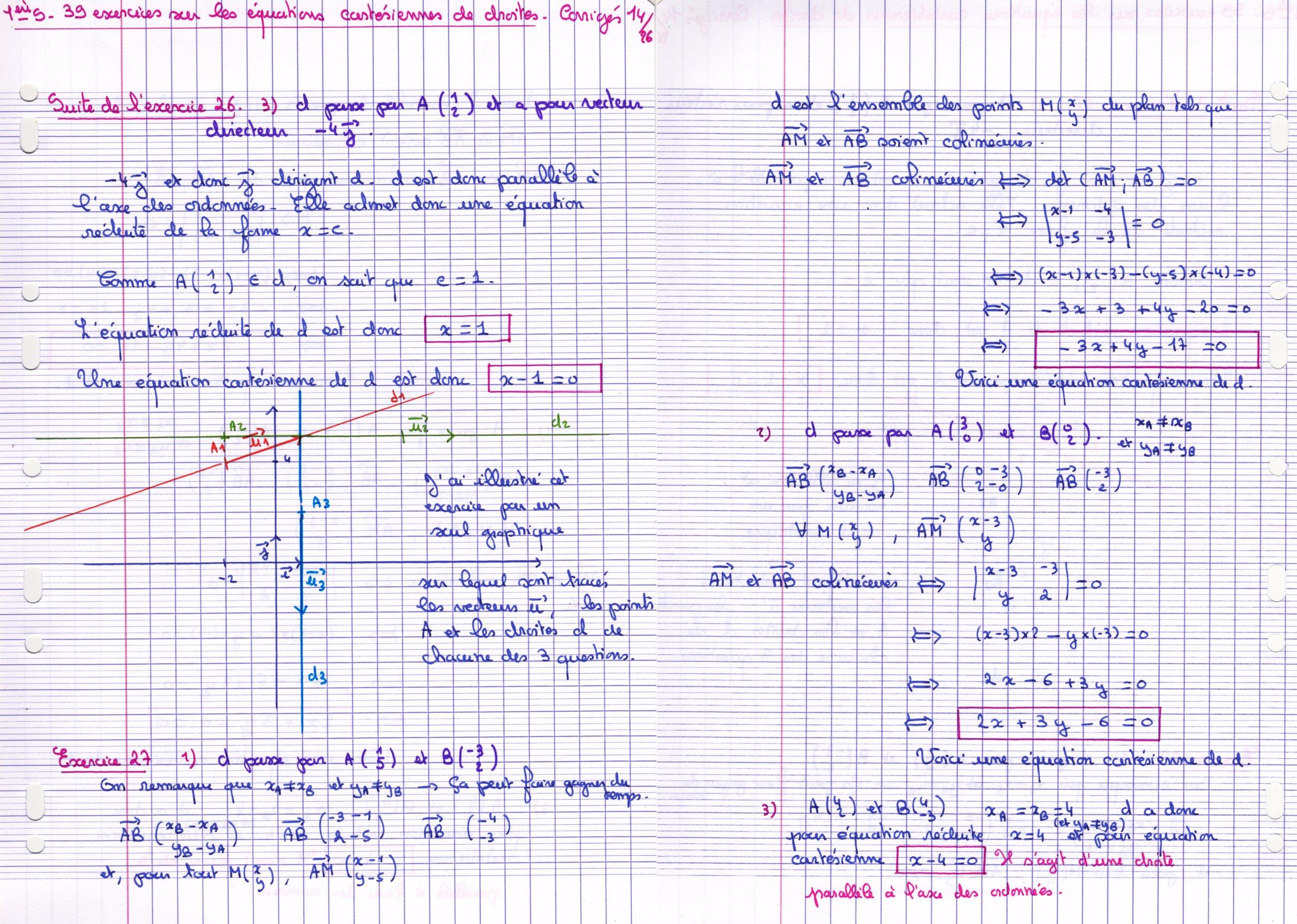 équation cartésienne d'une droite exercices corrigés pdf